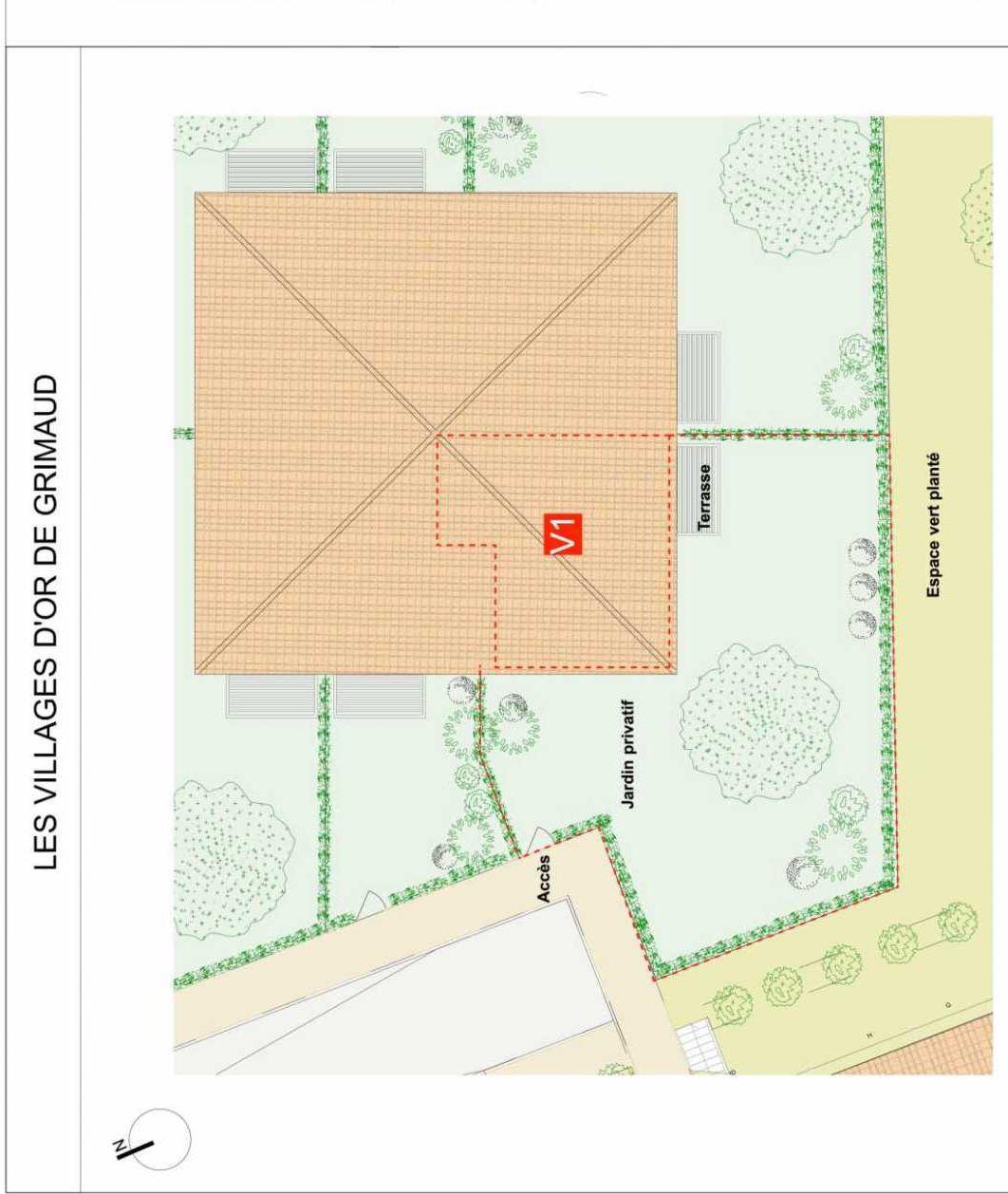 Plan Villa 1, appartement neuf type T3 au Rez de chaussée, faisant 59m² du programme neuf GRIMAUD - villas à Grimaud.