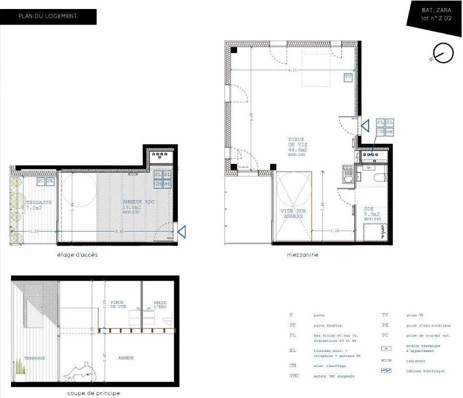 Plan Z02, appartement neuf, orienté Nord faisant 50m² du programme neuf Brazza à Bordeaux.