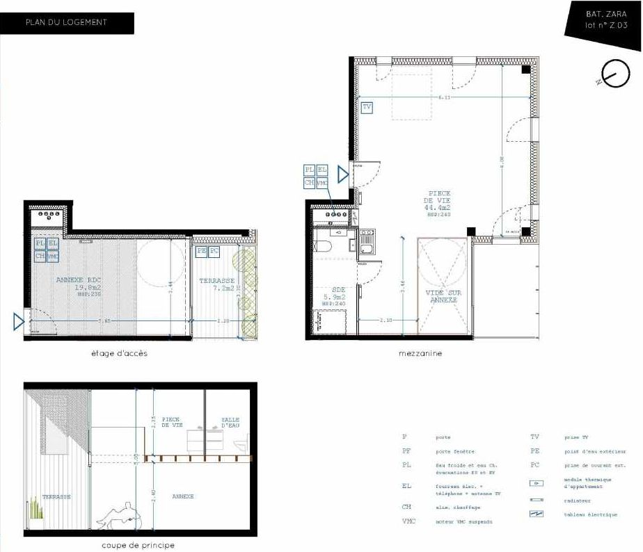 Plan Z03, appartement neuf, orienté Sud faisant 50m² du programme neuf Brazza à Bordeaux.