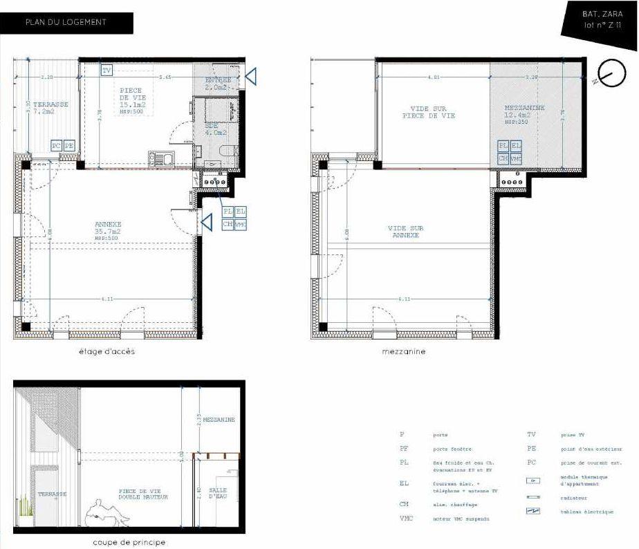 Plan Z11, appartement neuf type T4 au 1er étage, orienté Nord faisant 21m² du programme neuf Brazza à Bordeaux.