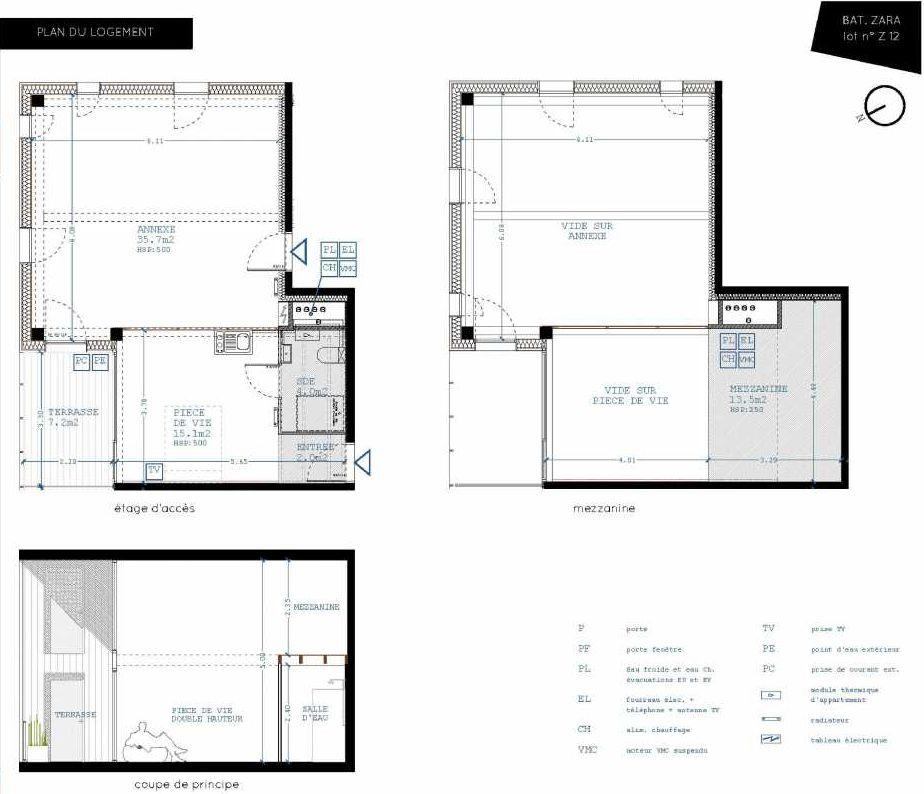 Plan Z12, appartement neuf type T4 au 1er étage, orienté Nord faisant 21m² du programme neuf Brazza à Bordeaux.