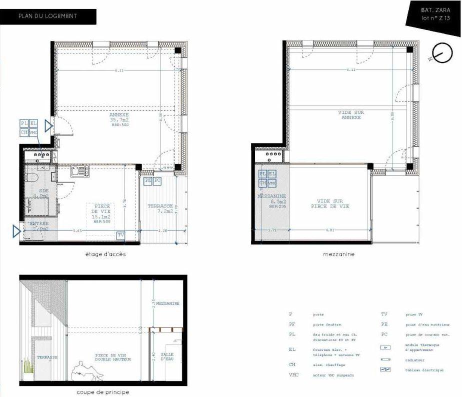 Plan Z13, appartement neuf type T4 au 1er étage, orienté Sud faisant 21m² du programme neuf Brazza à Bordeaux.