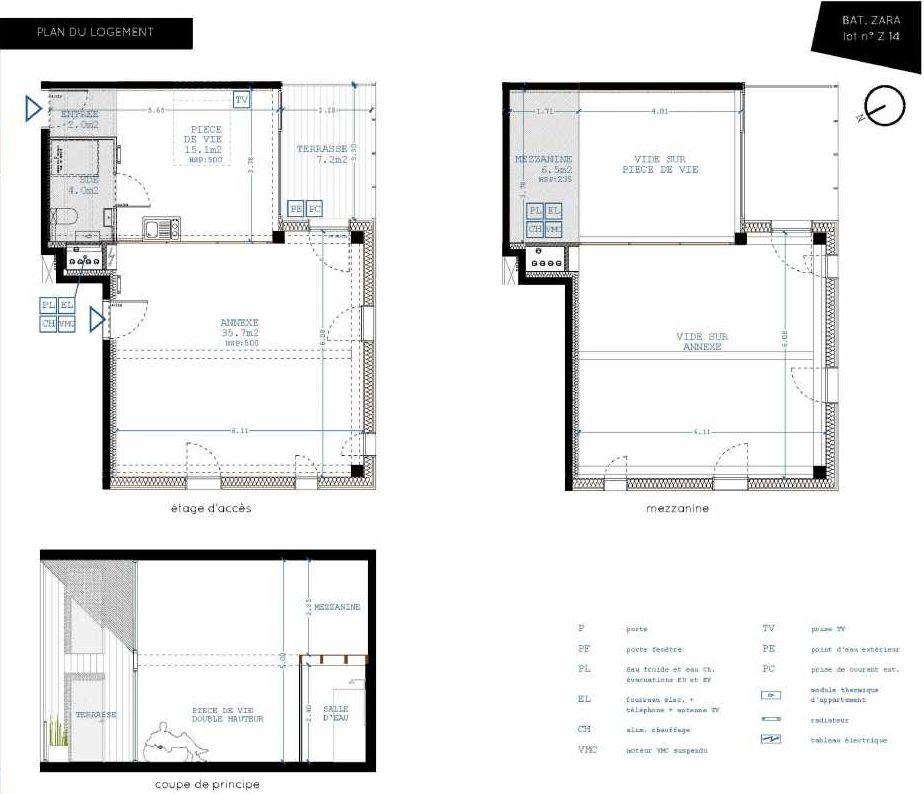 Plan Z14, appartement neuf type T4 au 1er étage, orienté Sud faisant 21m² du programme neuf Brazza à Bordeaux.