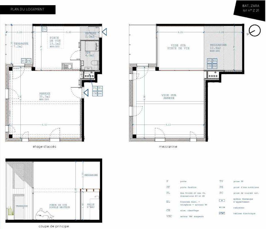 Plan Z21, appartement neuf type T4 au 2ème étage, orienté Nord faisant 21m² du programme neuf Brazza à Bordeaux.