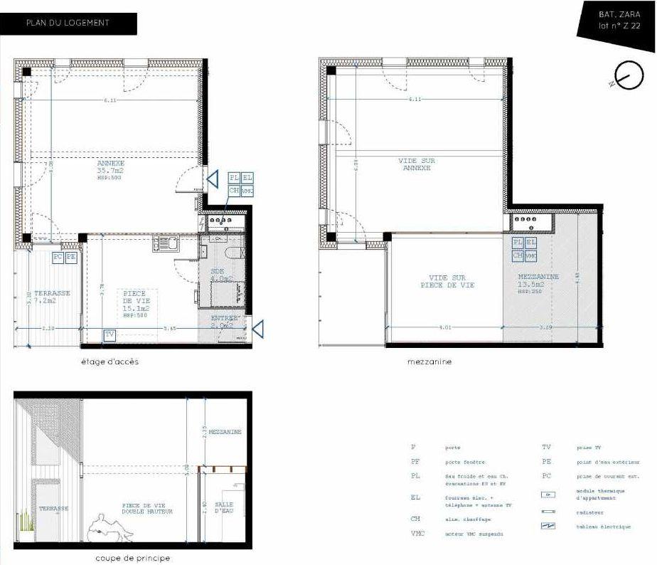 Plan Z22, appartement neuf type T4 au 2ème étage, orienté Nord faisant 21m² du programme neuf Brazza à Bordeaux.