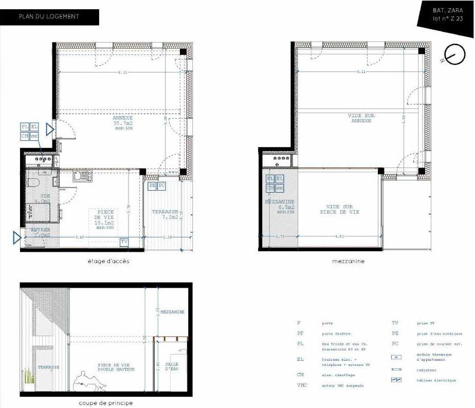 Plan Z23, appartement neuf type T4 au 2ème étage, orienté Sud faisant 21m² du programme neuf Brazza à Bordeaux.