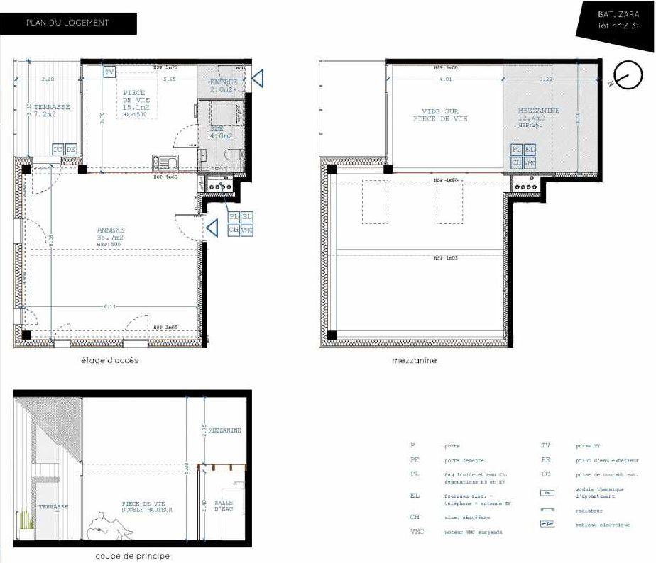 Plan Z31, appartement neuf type T4 au 3ème étage, orienté Nord faisant 21m² du programme neuf Brazza à Bordeaux.