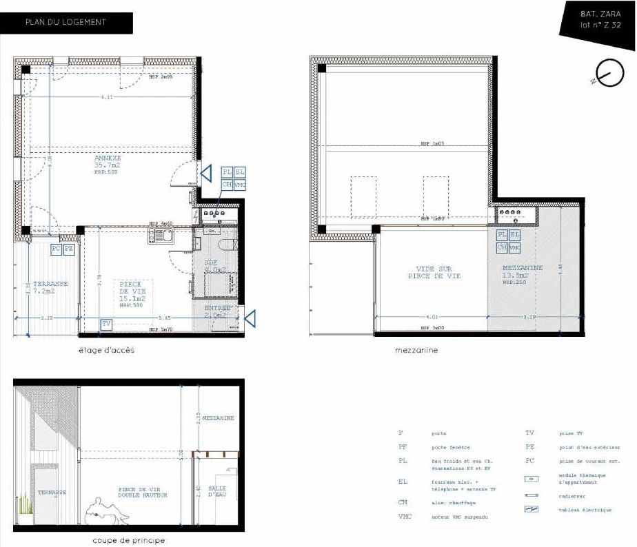 Plan Z32, appartement neuf type T4 au 3ème étage, orienté Nord faisant 21m² du programme neuf Brazza à Bordeaux.