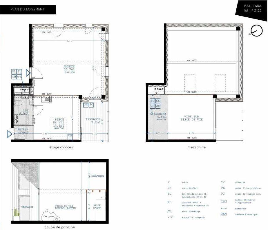 Plan Z33, appartement neuf type T4 au 3ème étage, orienté Sud faisant 21m² du programme neuf Brazza à Bordeaux.