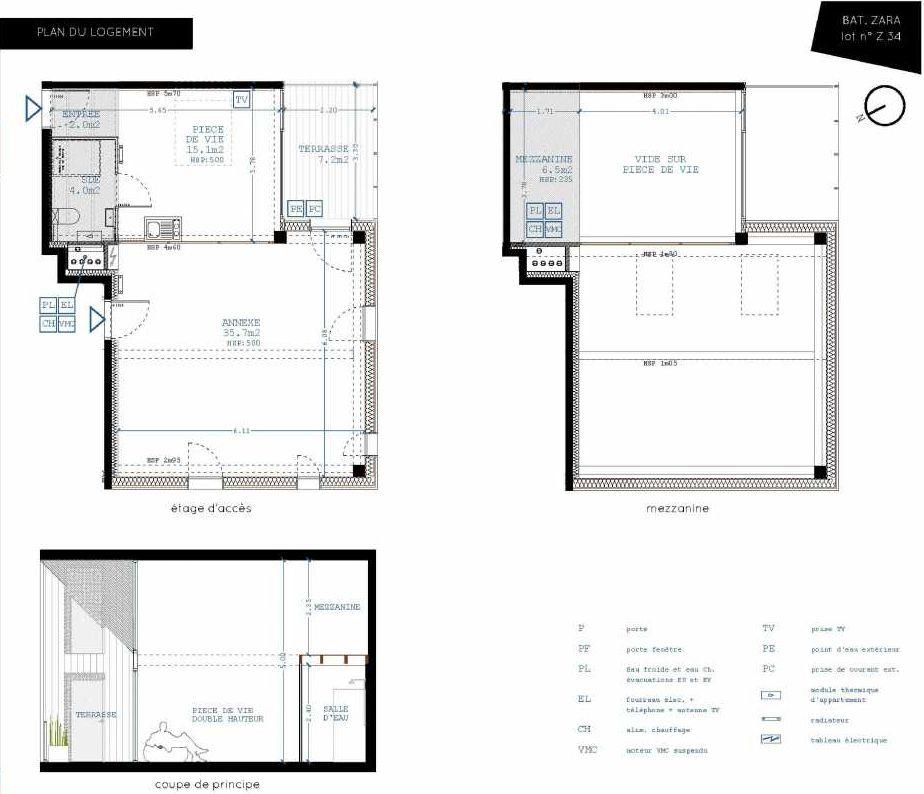 Plan Z34, appartement neuf type T4 au 3ème étage, orienté Sud faisant 21m² du programme neuf Brazza à Bordeaux.