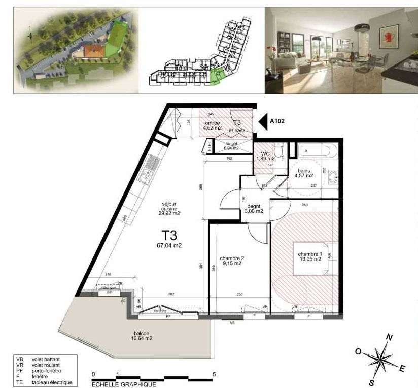 Plan a102, appartement neuf type T3 au 1er étage, orienté Sud faisant 66m² du programme neuf TOULON ESTEREL à Toulon.