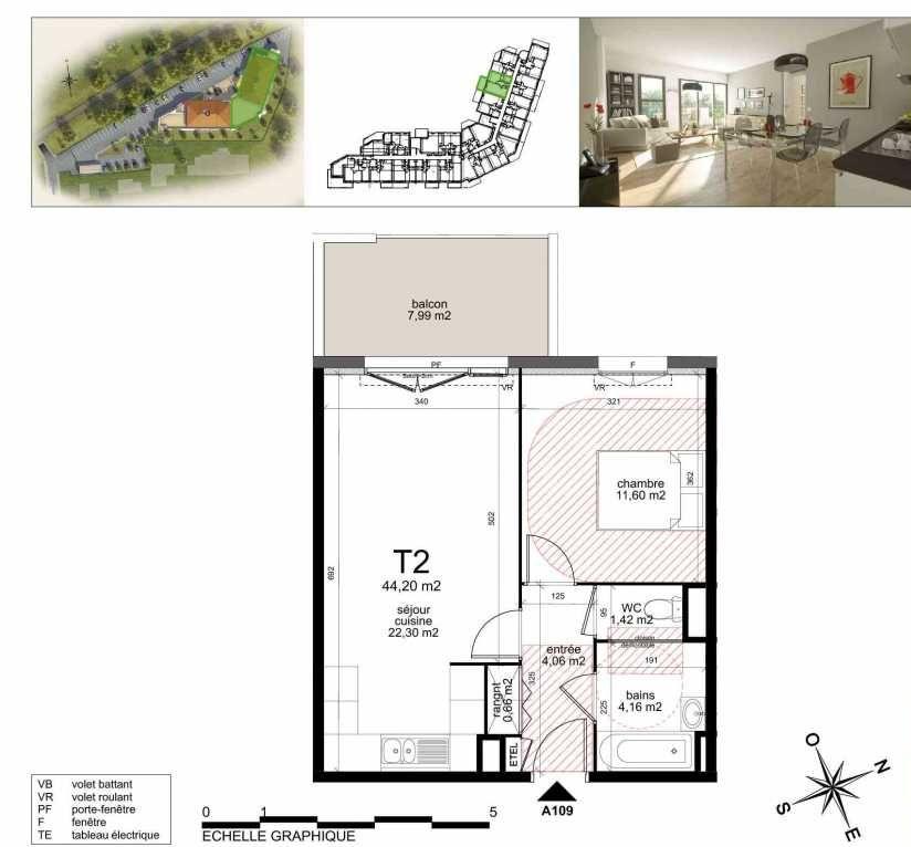 Plan a109, appartement neuf type T2 au 1er étage, orienté Nord faisant 43m² du programme neuf TOULON ESTEREL à Toulon.