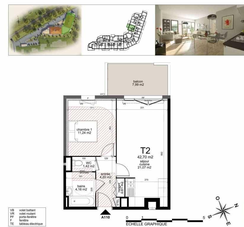 Plan a110, appartement neuf type T2 au 1er étage, orienté Nord faisant 43m² du programme neuf TOULON ESTEREL à Toulon.