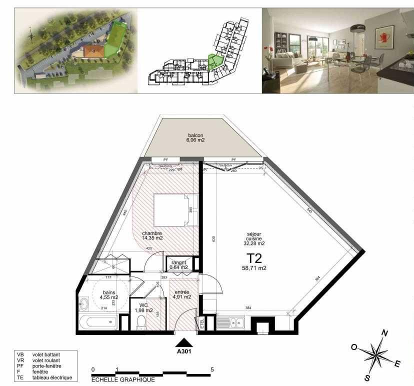 Plan a301, appartement neuf type T2 au 3ème étage, orienté Nord faisant 60m² du programme neuf TOULON ESTEREL à Toulon.