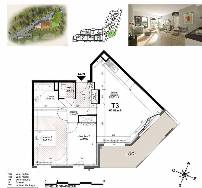Plan a403, appartement neuf type T3 au 4ème étage, orienté Sud faisant 62m² du programme neuf TOULON ESTEREL à Toulon.