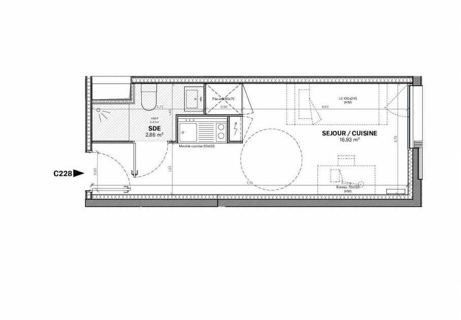 Plan c.228, appartement neuf type T1 au Rez de chaussée, orienté Sud faisant 20m² du programme neuf Résidence Square Saint-Louis à Bordeaux.