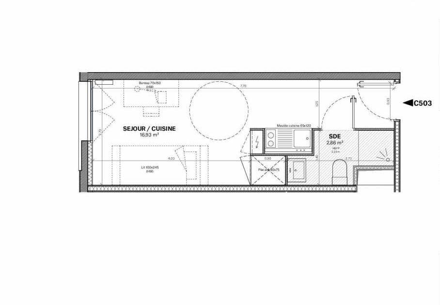 Plan c.503, appartement neuf type T1 au Rez de chaussée, orienté Nord faisant 20m² du programme neuf Résidence Square Saint-Louis à Bordeaux.