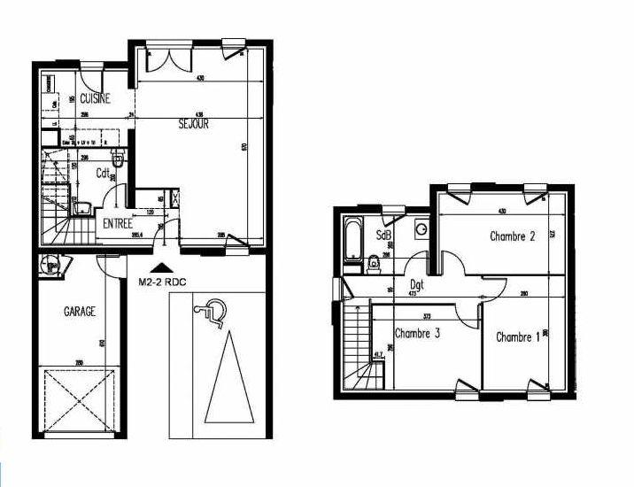Plan m2-2, appartement neuf, orienté Sud faisant 86m² du programme neuf Le Clos St Martin à Courdimanche.