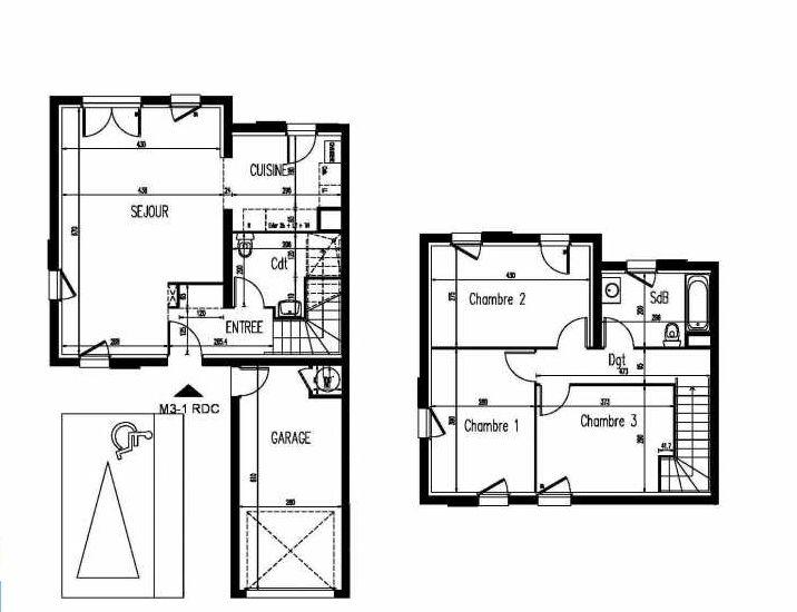 Plan m3-1, appartement neuf, faisant 86m² du programme neuf Le Clos St Martin à Courdimanche.