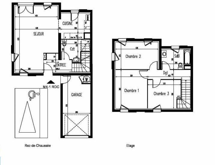 Plan m4-1, appartement neuf, faisant 87m² du programme neuf Le Clos St Martin à Courdimanche.