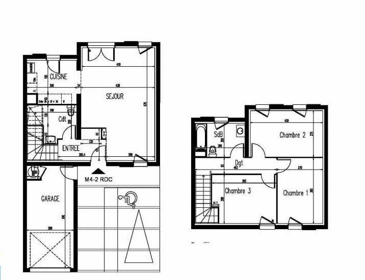 Plan m4-2, appartement neuf, faisant 86m² du programme neuf Le Clos St Martin à Courdimanche.