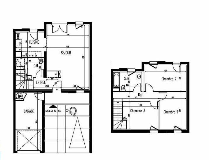 Plan m4-3, appartement neuf, faisant 86m² du programme neuf Le Clos St Martin à Courdimanche.